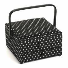 Hobbygift ~ Sewing Basket / Box ~ Square with Drawer ~ Black Star ~ MRLD576