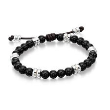 Fred Bennett Silver and Black Onyx Beaded Bracelet B4569
