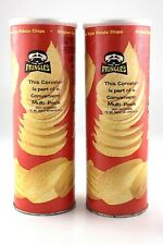 1970s 2 Vintage Pringles Original Style Potato Chips Empty Cans Made In USA L702