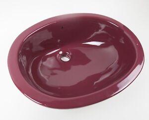 Ruby Red Maroon Bathroom Sink Vintage 19x15 Pantone 505 C Retro Vanity