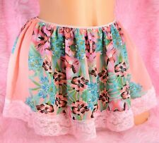 Tiny Sissy Pink Floral sheer chiffon lace trim mini slip skirt for panties OS
