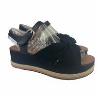 Naturalizer Womens Berry Platform Espadrille Sandals Black Low Buckle 11 M New