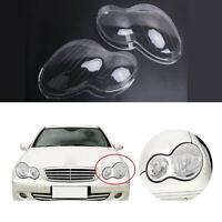 Pair Car Headlight Len Shell Cover Plastic For Benz Mercedes W203 C-Class 01-07