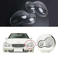 Pair Car Headlight Len Shell Cover Plastic For Benz Mercedes W203 C-Class 01-07