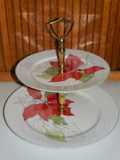 BLOCK SPAL Poinsettia 2 Tiered Serving Tray - MINT with Tags