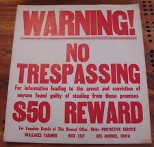 Wallaces Farmer  NO TRESPASSING $50 REWARD Cardboard Sign Cows,Corn,John Deere