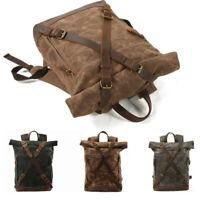 Men Women Oil Wax Canvas Leather Backpack Rucksack Handbag School Travel Bag