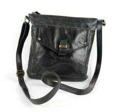 M & S Collection Black Leather Crossbody Shoulder Bag 27cm X 26cm