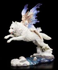 Schmetterlings-Elfe reitet auf weißem Wolf - Free Spirit - Veronese Fantasy Fee