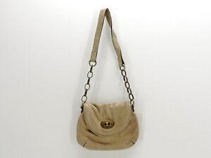 Fossil Suede Shoulder Mini Bag Handbag Gold Metallic Leather New!