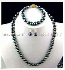 AAA 9-10mm tahitian black green pearl necklace 18inch bracelet earring Set