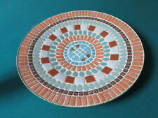 "BRASS AND MAJOLICA MOSAIC TRAY ROUND 14"" *"