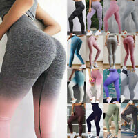 Women High Waist Yoga Pants Ombre Seamless Leggings Sports Gym Fitness Stretch A
