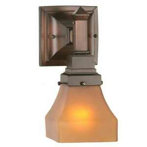 Meyda Lighting 5'W Bungalow Frosted Amber Wall Sconce, Amber Etch - 50357
