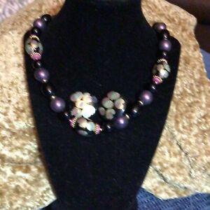 Vintage long Cloisonne' beaded necklace. Marked Japan.