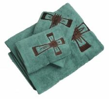 New! 3 Piece Turquoise Towel Set with Embroidered Cross