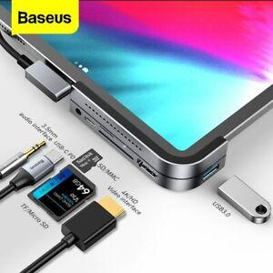 Baseus USB C HUB to HDMI USB 3.0 SD/TF 3.5mm Jack PD for iPad Pro MacBook Air