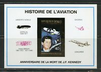 CHAD HISTORY OF AVIATION & JOHN F. KENNEDY DELUXE GOLD  FOIL CARD SOUVENIR SHEET