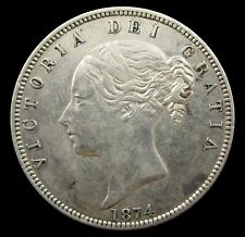 More details for victoria 1874 young head silver halfcrown - vf