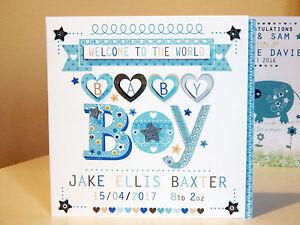 BABY BOY card congratulations baby BOY personalised new baby special card BABY