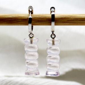 Stylish Rose Quartz Dangle Drop Earrings 925 Sterling Silver Fancy Shape Earring
