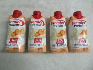 (4) Premier Protein High Protein Shake Peaches & Cream Flavor 11 Oz Each @8