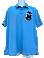 Disney Parks Authentic Mens Size XL Mickey Patches Blue Polo Shirt