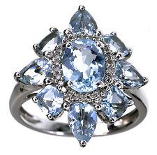 Sterling Silver 3.00 Ct tw Aquamarine Gemstone ring size 6
