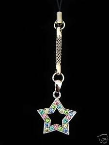 STAR CELL PHONE CHARM STRAP WITH MULTI COLOR CRYSTALS SILVER TONE