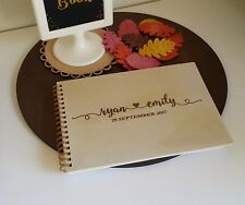 ❤ Personalised Engraved Wedding Wooden Guest Book with Wire Binding ❤
