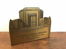 New York Worlds Fair 1939 Christian Science Building Metal Bookend Souvenir HD13