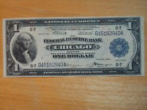 1918 FRN $1 $1.00 ONE DOLLAR FEDERAL RESERVE NOTE BILL CHICAGO XF DETAILS No Res