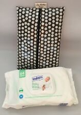 Baby Wipes holder, Wipes case, Wet Wipe Pouch in Black and white Spotty Oilcloth