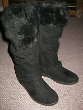 Canyon River Blues Remi Black Zip Up Winter Wedge Heel Boots (Girls US 5) 66540_