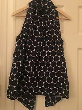 MARC BY MARC JACOBS WOMENS  BLUE WHITE POLKA DOT SLEEVELTOP SILK TOP TIE NECK S