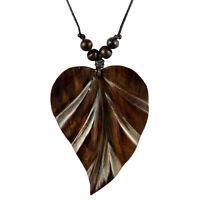 Halskette Anhänger Kette Blatt aus Holz Design Handarbeit N150