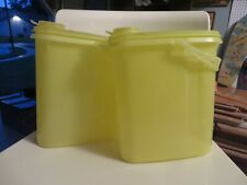 2 VINTAGE TUPPERWARE YELLOW STORE & POUR CONTAINER WITH LID AND HANDLE