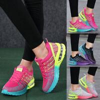 Damen Sneaker Luftkissen Stricken Turnschuhe Laufschuhe Freizeit Schnürer Schuhe