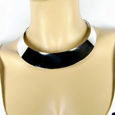 Eleganter breiter Halsreif Halsspange Collier aus poliertem Edelstahl