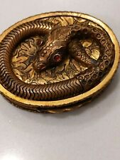 Vintage Wl Walter Lampl Brass Pill Snuff Box Snake With Red Glass Cabochon Eyes