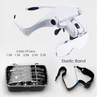 Lightweight Magnifier Head Light 2LED Adjustable Magnifying Glass 5Len Handsfree