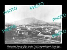 OLD POSTCARD SIZE PHOTO OF CHATTANOOGA TENNESSEE PANORAMA OF THE TOWN c1860