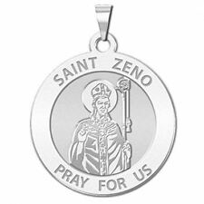 Saint Zeno Religious Medal - 3/4 Inch Size of a Nickel -Sterling Silver