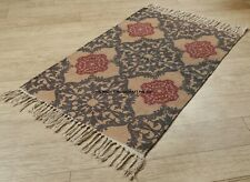 Cotton Bohemian Floral Print Carpet Handmade Woven Area Mat Rug with Tassels