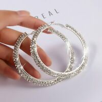Hot Silver Elegant Crystal Round Circle Hoop Dangle Earrings Women Wedding Gift