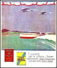 PUBBLICITA' 1932 SHELL OLIO DYNAMIN AERO SHELL AEREO IDROVOLANTE NICOULINE LATTA