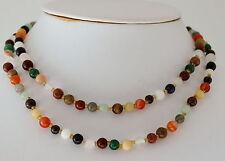 Collar con Coloridas Natural Piedra Preciosa - Disco mezcla, 80cm largos, Bola
