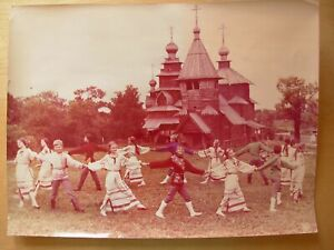 Original Soviet Vintage Photo Children khorovod Russian round dance wood church