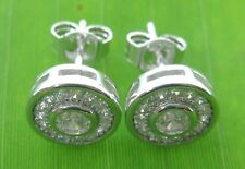 REAL 925 sterling silver micro setting CZ 8mm Circle studs earrings women Girl