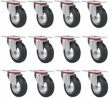 "12 pack swivel caster wheels 3"" rubber base with top plate bearing heavy duty"